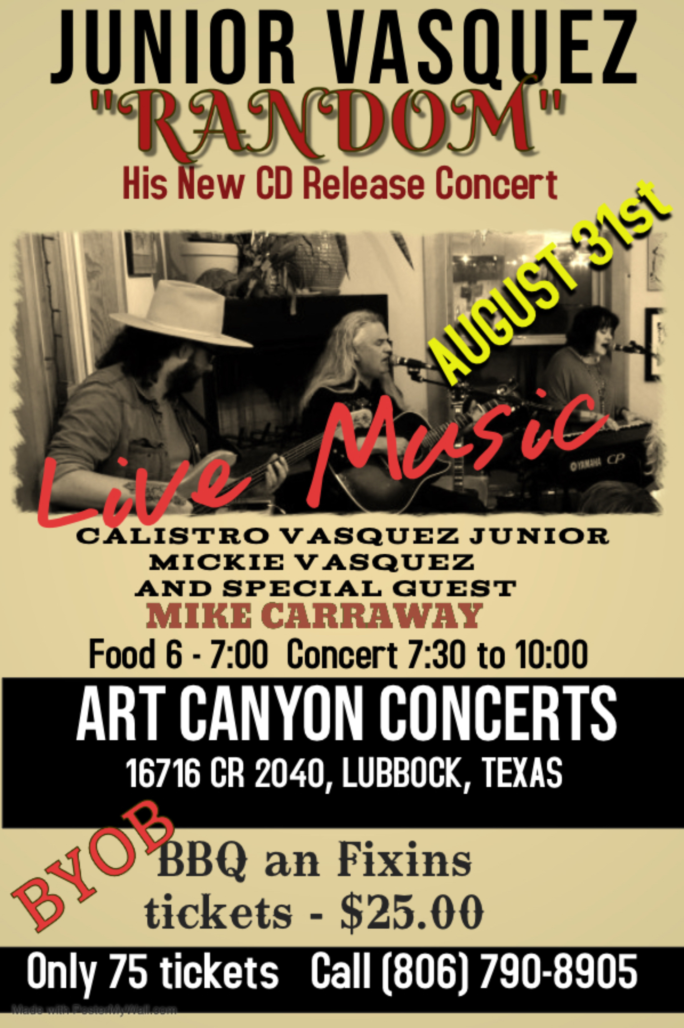 CD Release Concert August 31st…Lubbock, Tx.